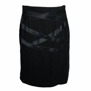 Escada Pencil Skirt Black Wool Satin Size 38